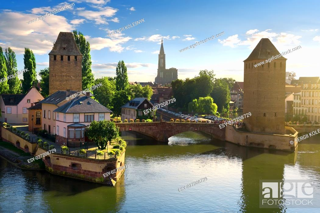 Stock Photo: Covered bridge Pont Couverts in Strasbourgh in the district Petite France, Alsace.