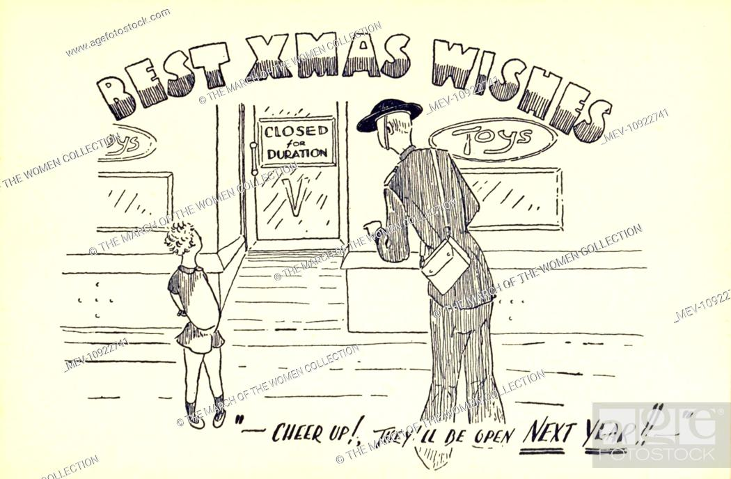 stock photo ww2 christmas card a closed toy shop with little boy and arp - Christmas Card Closings