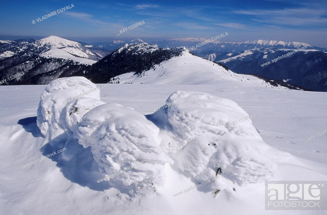 Stock Photo: Winter scenery in the Velka Fatra mountains, Slovakia  View from the summit of Ploska towards Nizke Tatry mountains.