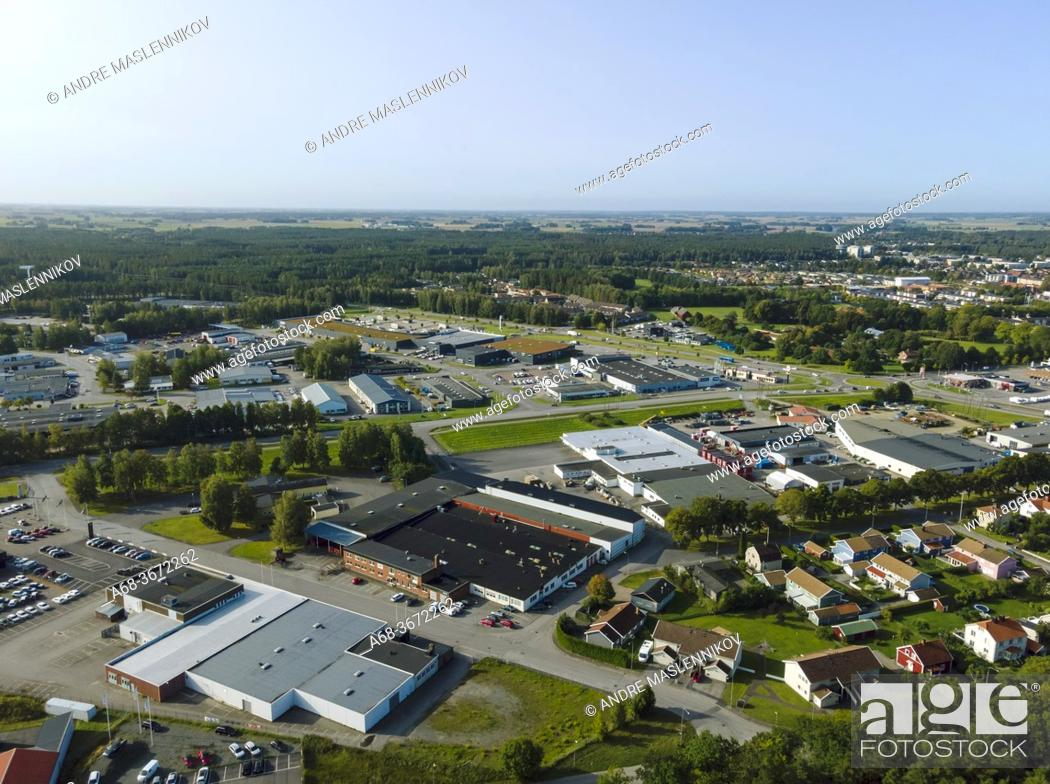 Stock Photo: View of Lidköping with small industries, seen from the east. Västergötland. Sweden's 45th largest urban area. Sweden.