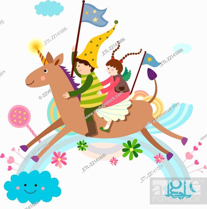 Stock Photo: Unicorn and Children.