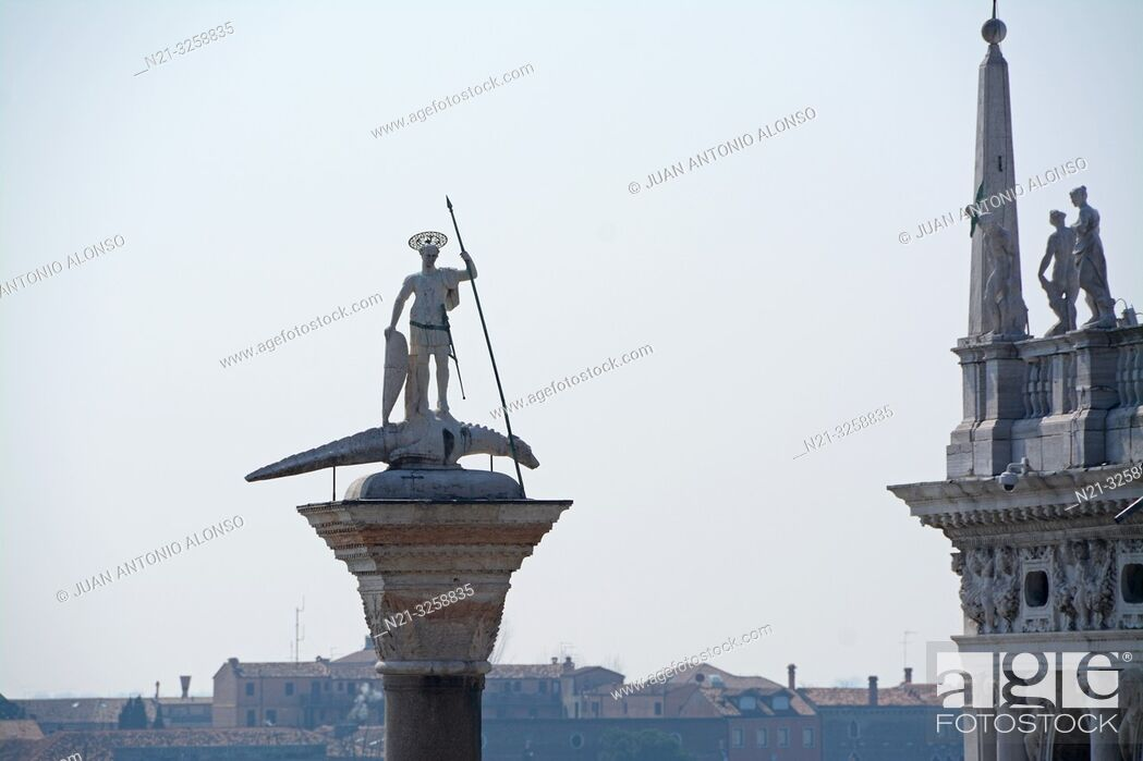 Stock Photo: Partial view of the Sansoviniana Library on the right. and the column of San Teodoro in front of the Canale di San Marco.