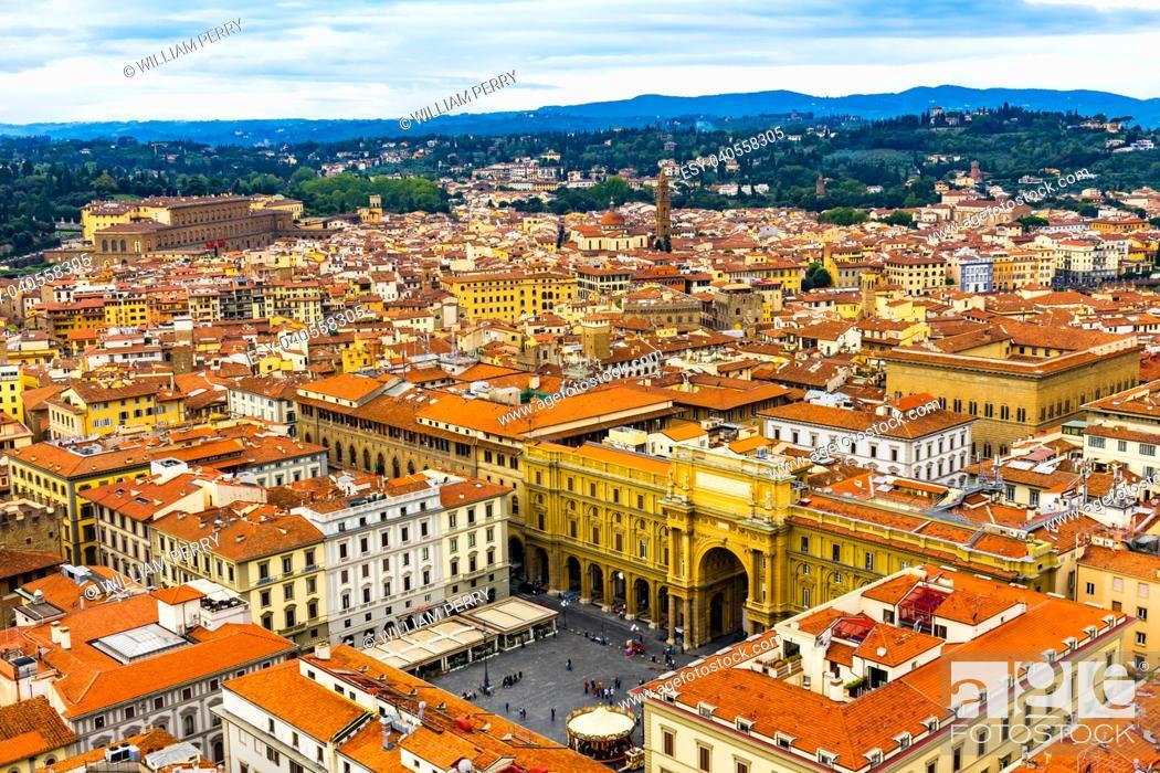 Imagen: Orange Roofs Churches Arcone Triumphal Arch Archway Piazza della Republica Cityscape Wide Florence Italy.