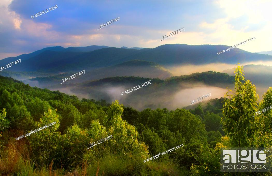 Stock Photo: Boyd Gap Brush Creek Overlook of the Great Smoky Mountains in Tennessee.