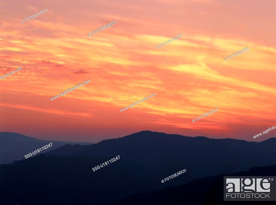 Stock Photo: Mountain Top In Sunset.