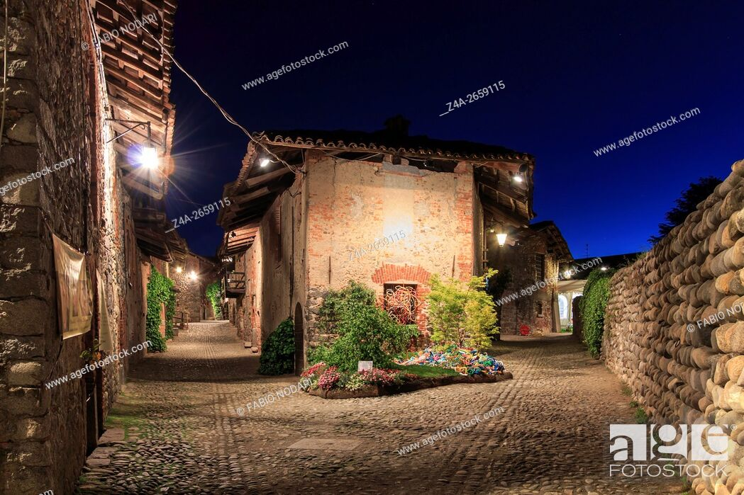 Stock Photo: View form the inside of the Medieval village of Ricetto di Candelo in Piedmont, used as a refuge in times of attack during the Middle Age.