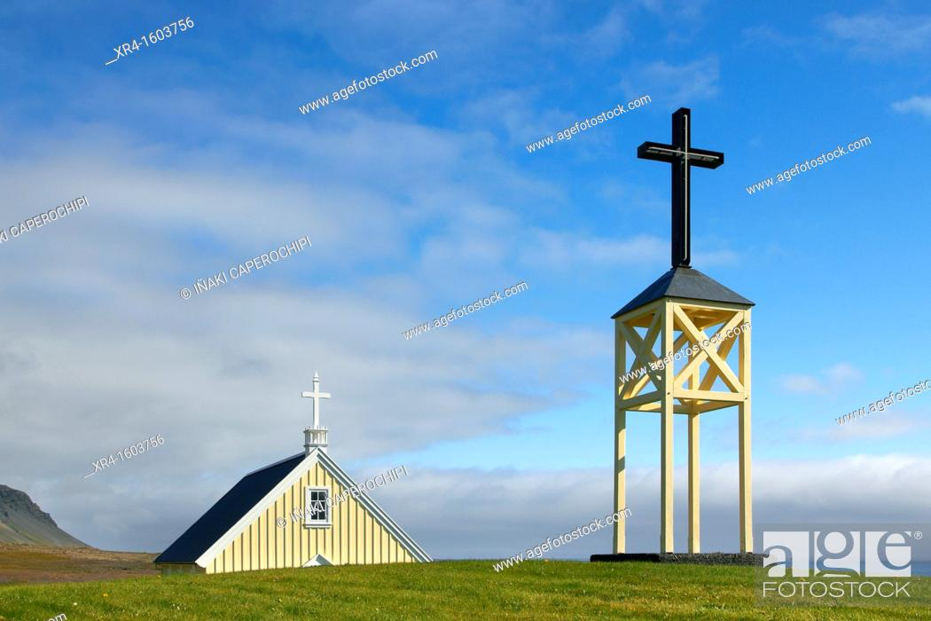 Stock Photo: Faskrudsfjordur Fjord Church, Iceland.