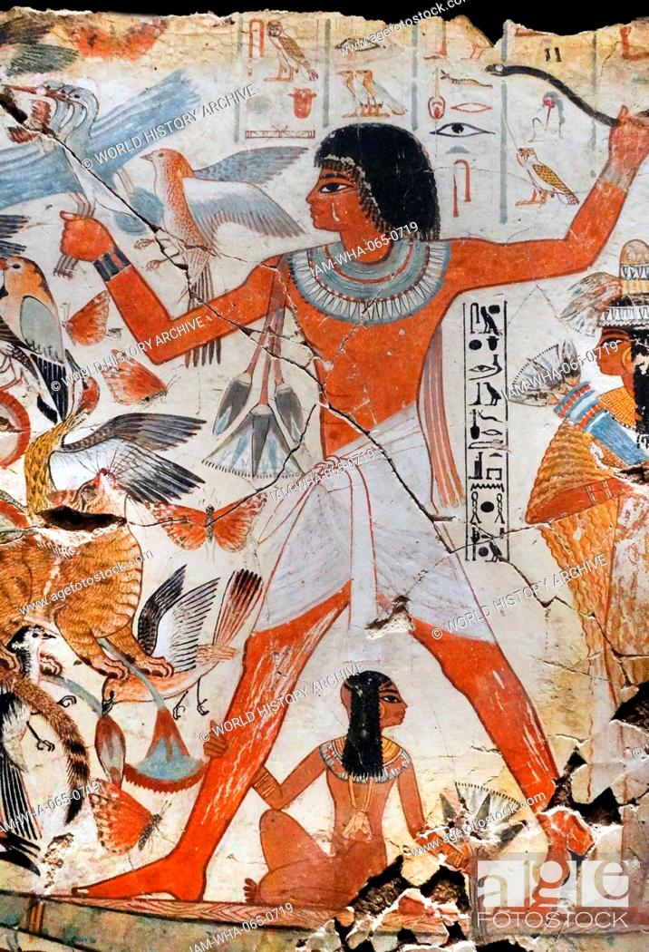 Stock Photo: Fresco from the tomb of Nebamun, shows Nebamun on a small papyrus boat with his wife Hatshepsut behind him and his son below.