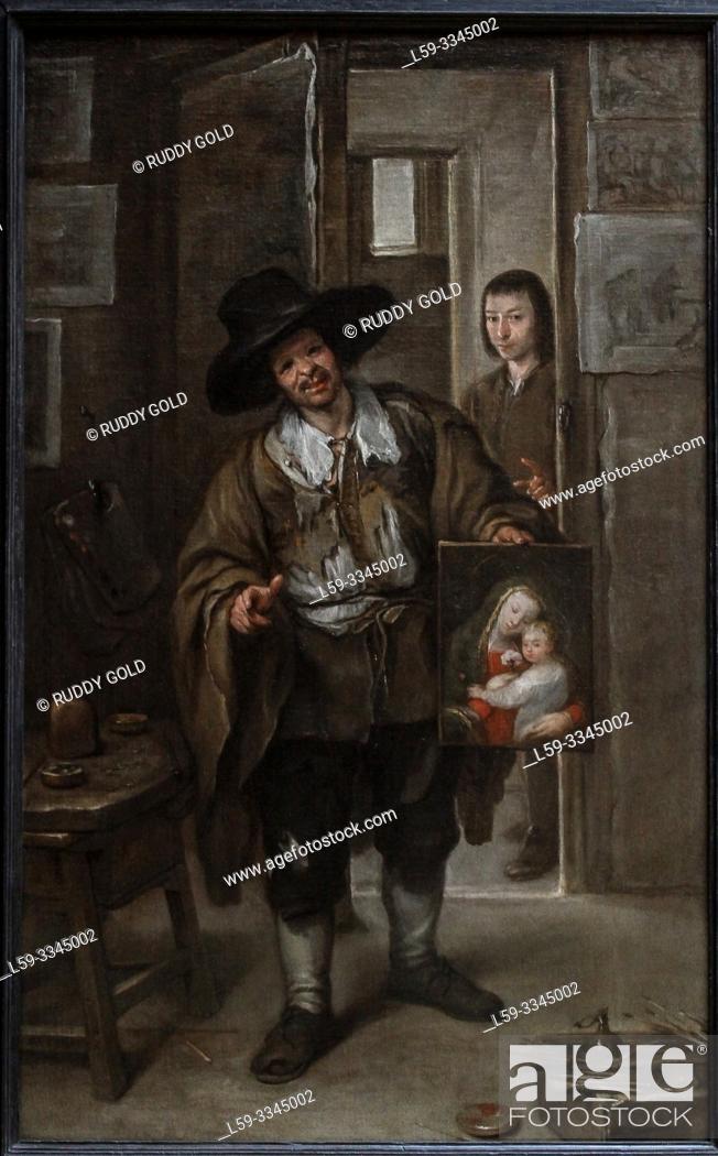 Stock Photo: 'Studio Scene', 1670, by Jose Antolínez (1635-1675).