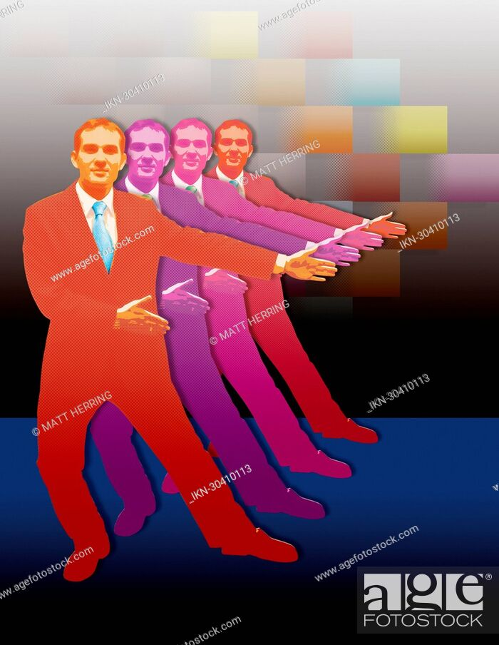 Imagen: Vibrant businessmen greeting with arms outstretched.