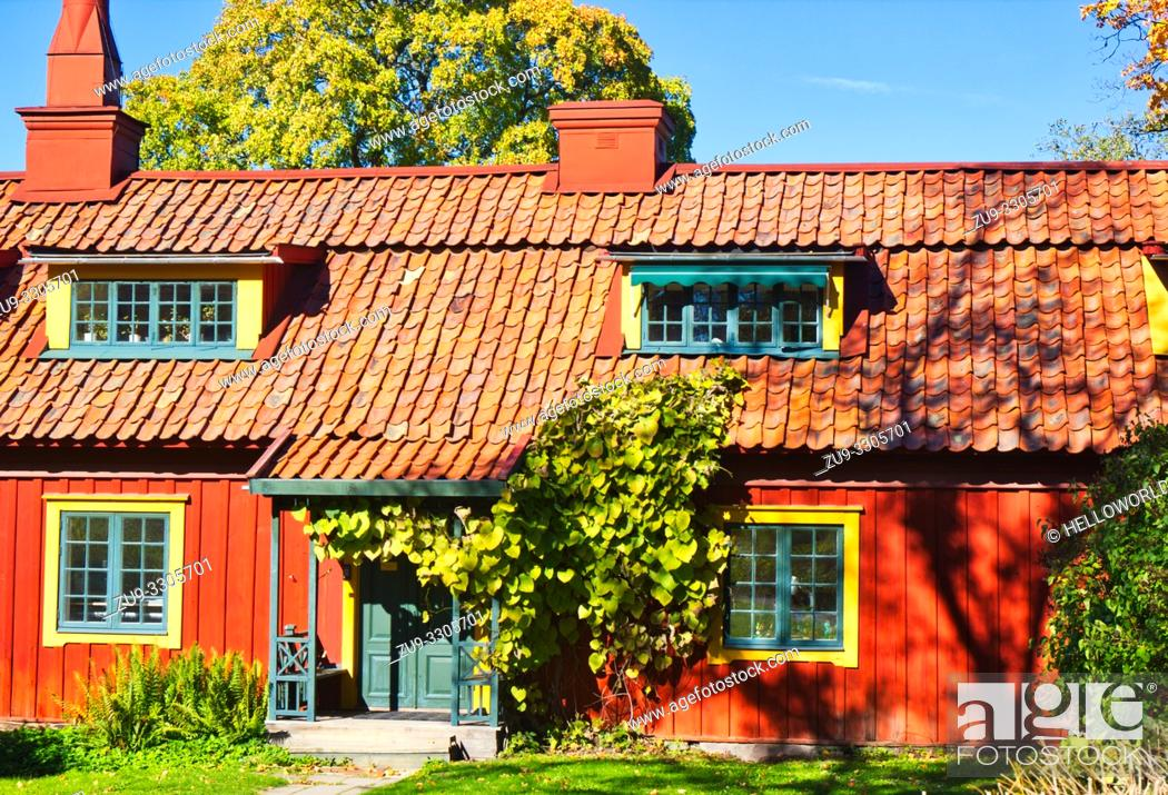 Stock Photo: The Red Row houses, Skansen open-air museum, Djurgarden, Stockholm, Sweden, Scandinavia. The Red Row was put up in the 1810's by John Burgman a wealthy merchant.