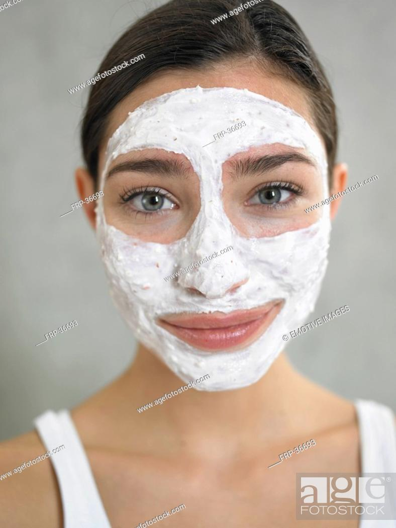 Stock Photo: Woman with curd mask.