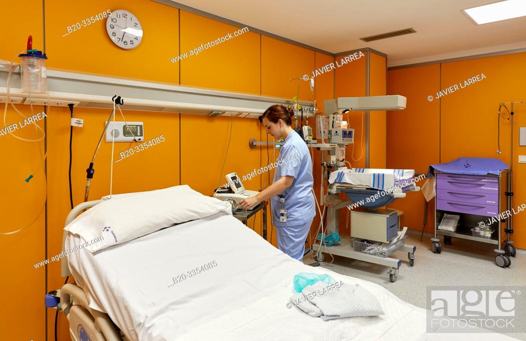 Stock Photo: Delivery room, Maternity ward, Hospital Donostia, San Sebastian, Gipuzkoa, Basque Country, Spain.