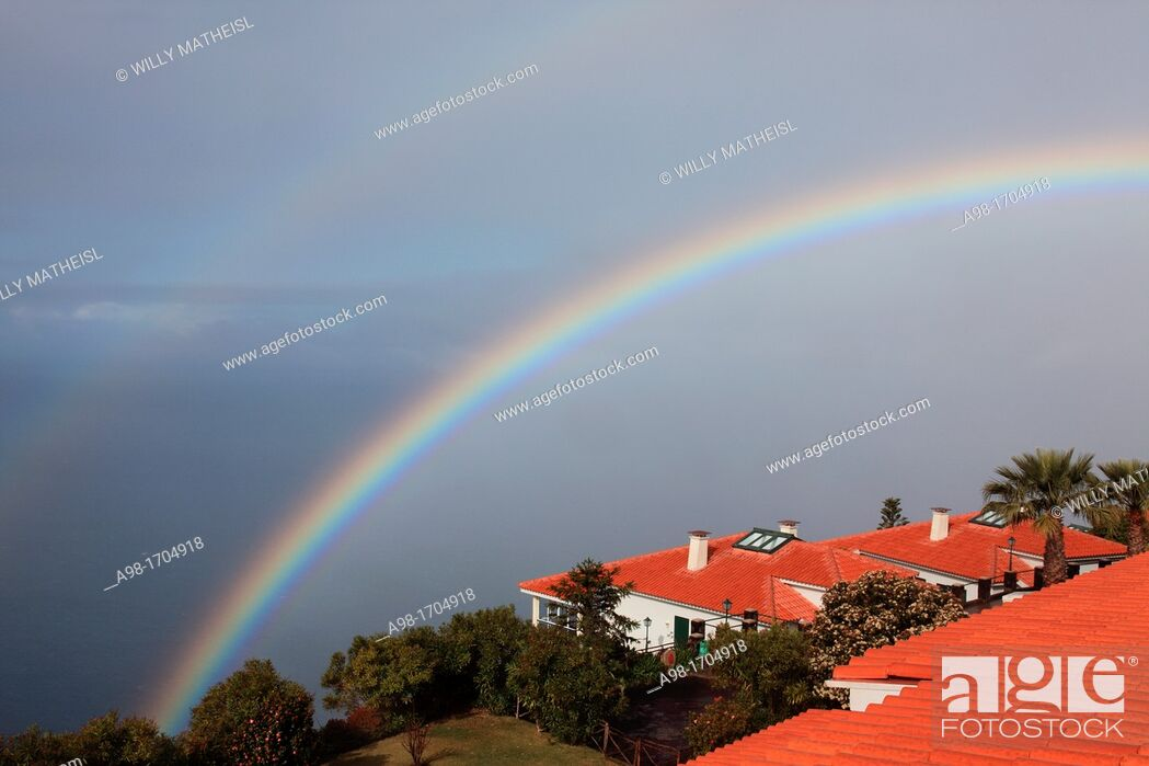 Stock Photo: double rainbow above the Atlantic Ocean at the resort Jardim Atlantico, Prazeres, Madeira, Portugal, Europe.
