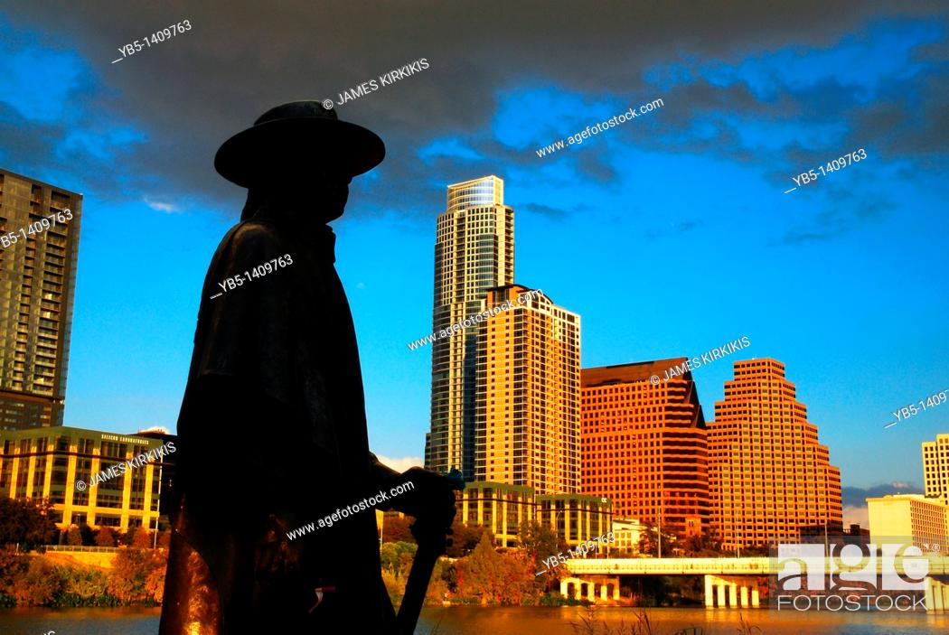 Stock Photo: Stevie Ray Vaugn statue, Austin Texas.