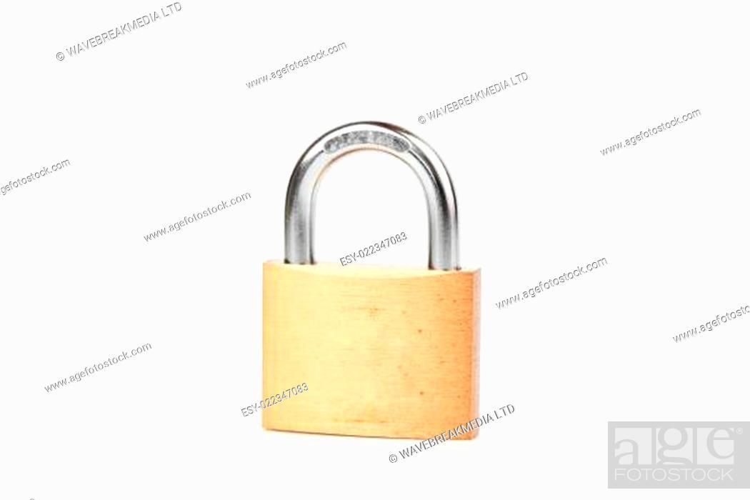 Photo de stock: Locked padlock against white background.