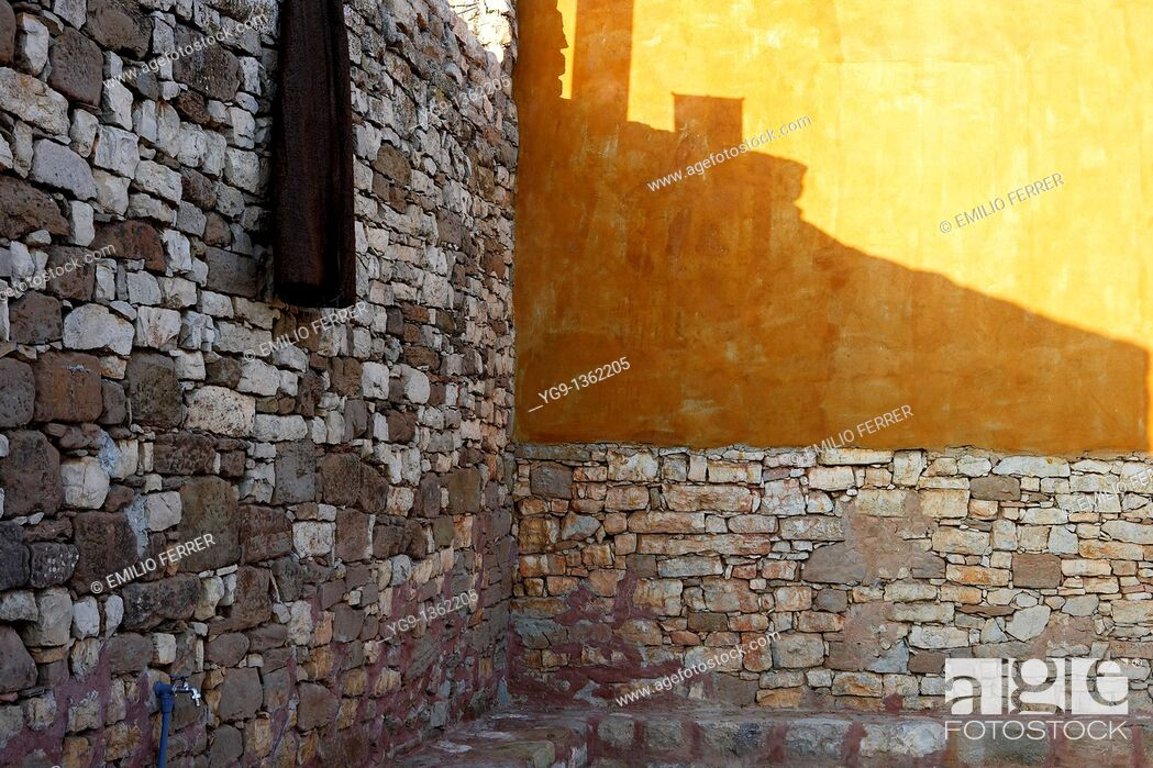 Stock Photo: Wall of Stones and Sun Reflection  LLeida  Spain.