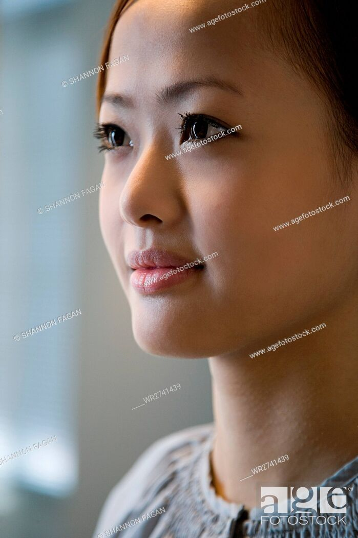 Stock Photo: Face of a young woman.