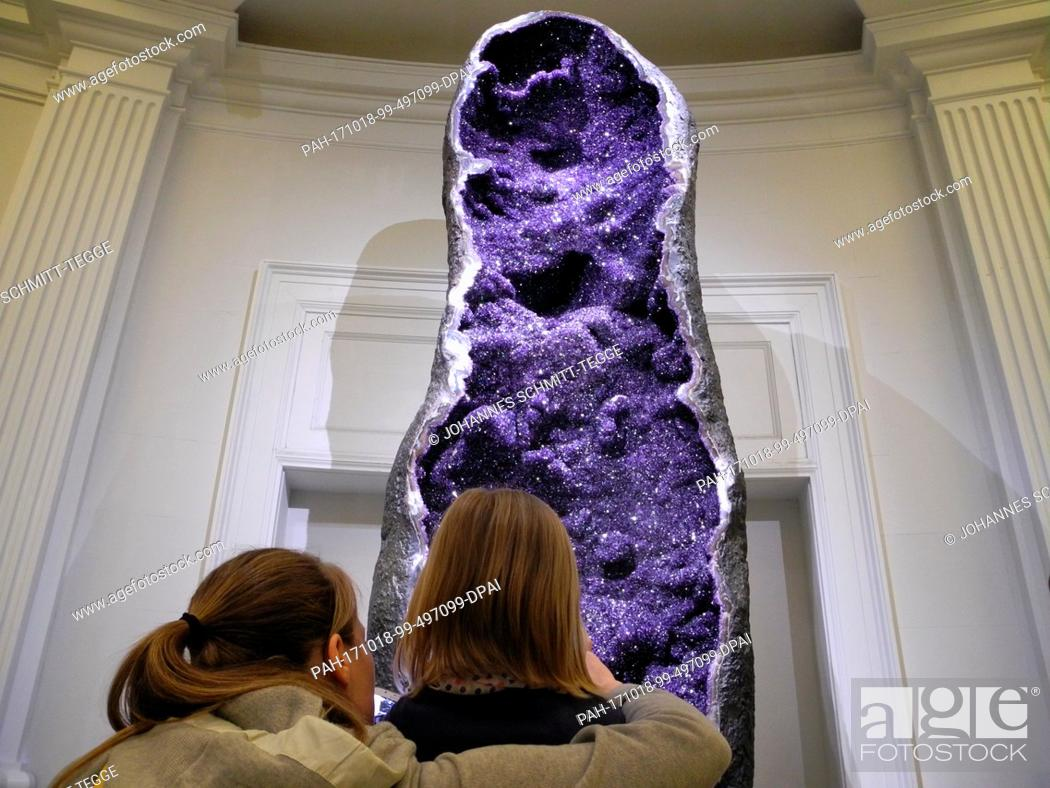 Stock Photo An Amethyst Crystal Measuring Three And A Half Metres Stands In The Natural
