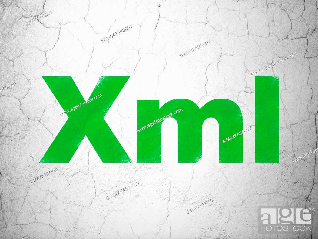 Stock Photo: Database concept: Green Xml on textured concrete wall background.