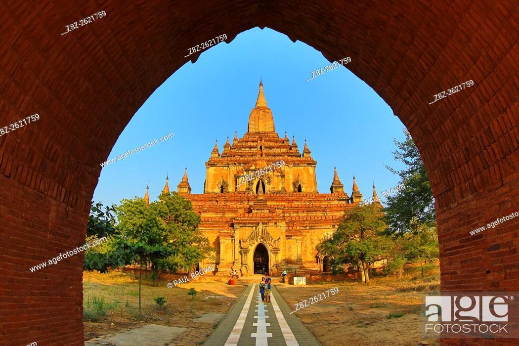 Stock Photo: Sulamani Guphaya Temple Pagoda on the Plain of Bagan, Bagan, Myanmar (Burma).