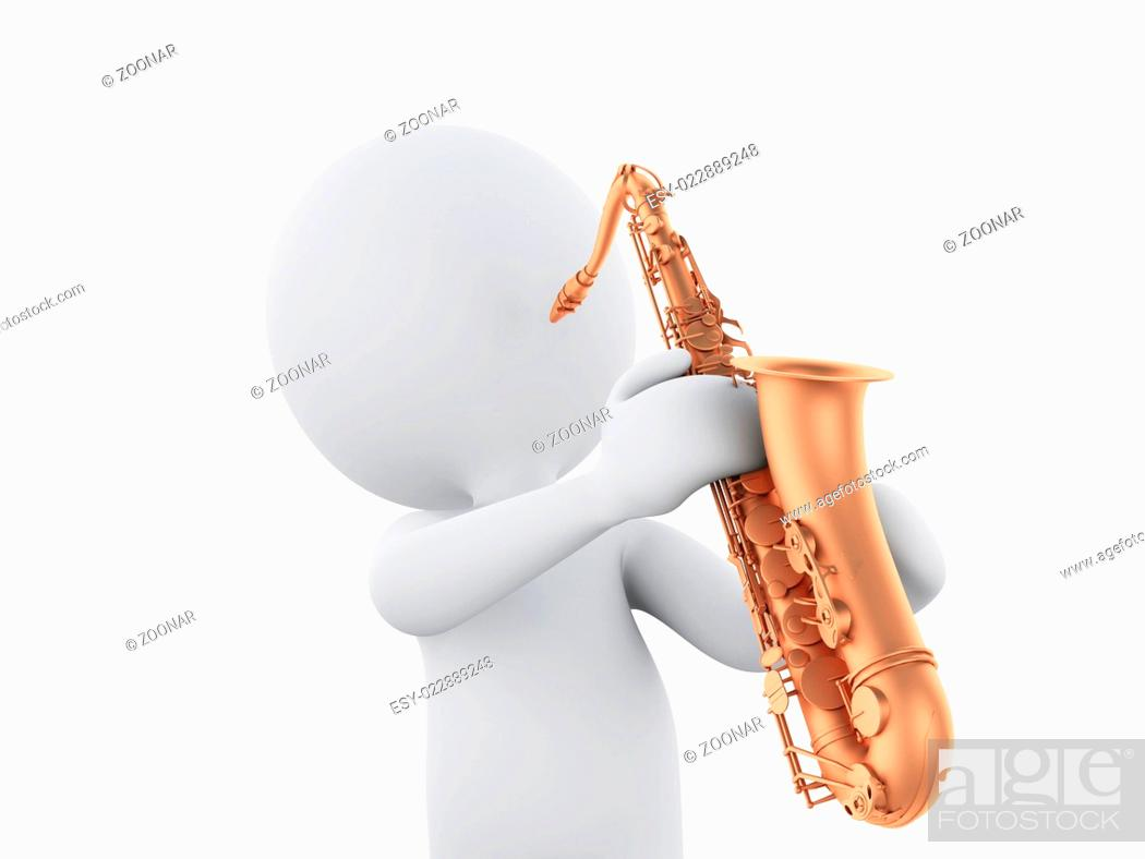Stock Photo: 3d white people playing saxophone.