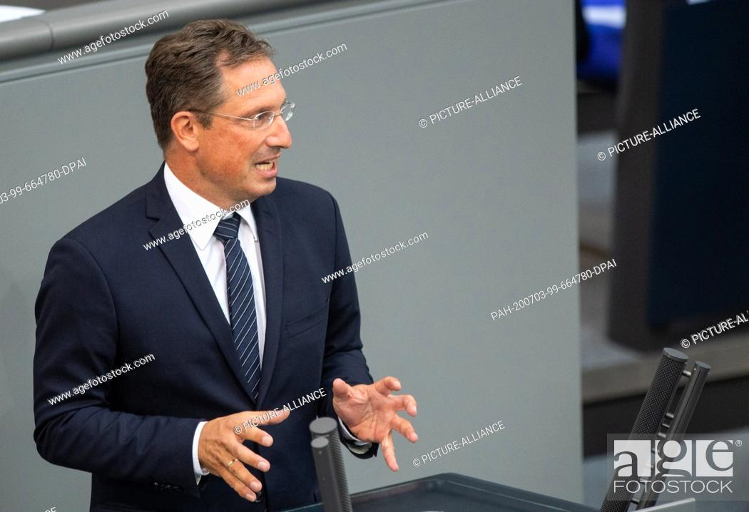 Stock Photo: 03 July 2020, Berlin: Stephan Thomae (FDP) speaks in the plenary session of the German Bundestag. The main topics of the 171st session of the 19th legislative.