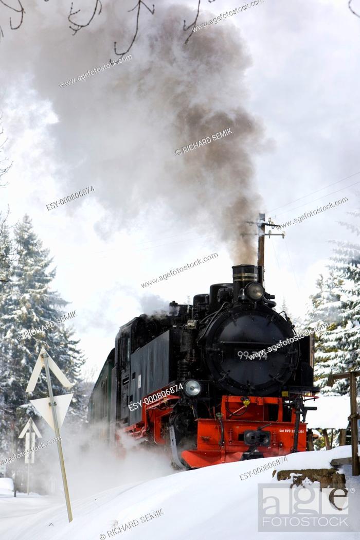 Stock Photo: steam locomotive, Oberwiesenthal - Cranzhal Fichtelbergbahn, Germany.