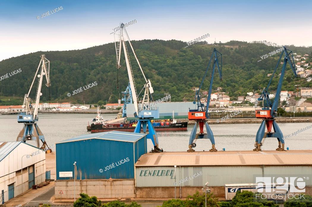 Stock Photo: Port of goods, Ferrol, La Coruna province, Region of Galicia, Spain, Europe.