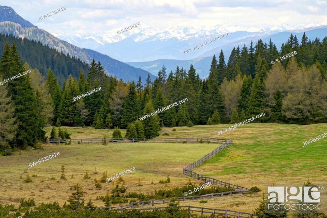 Stock Photo: view from Kreuzbergpass to main chain of the Alps and Rieserferner Group, Italy, South Tyrol, Karnische Alpen.