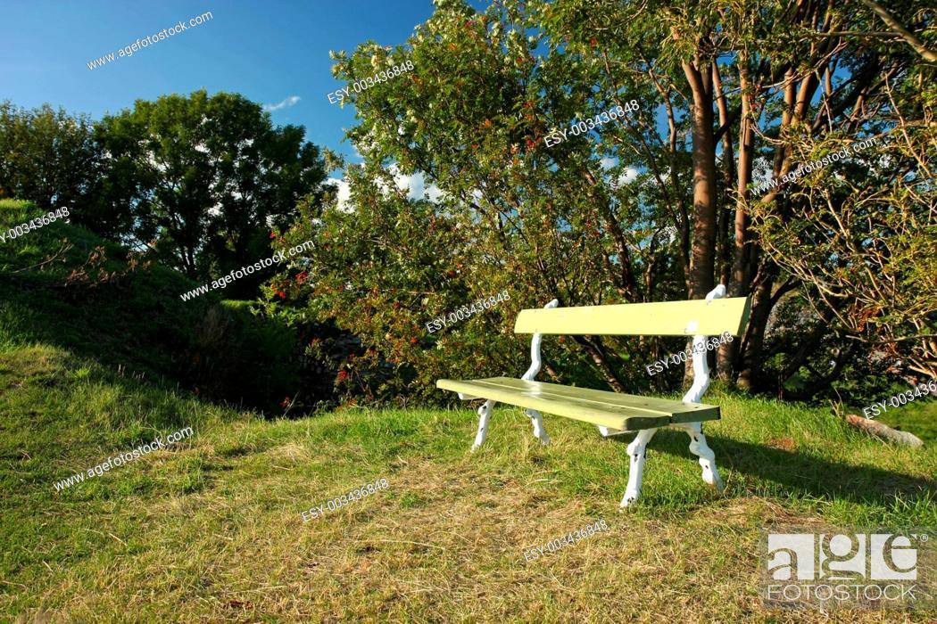 Stock Photo: empty bench.
