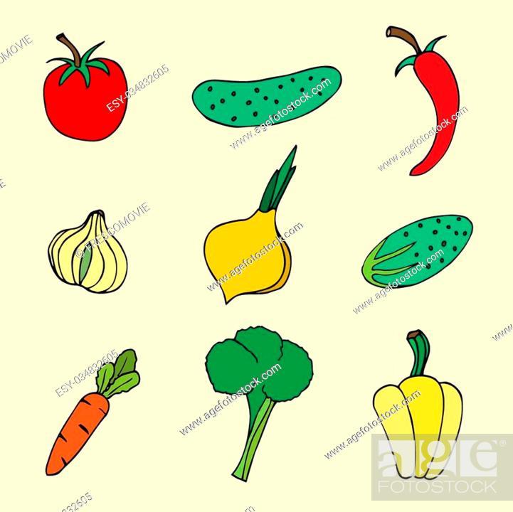 Stock Vector: Vector set of sketch vegetables.