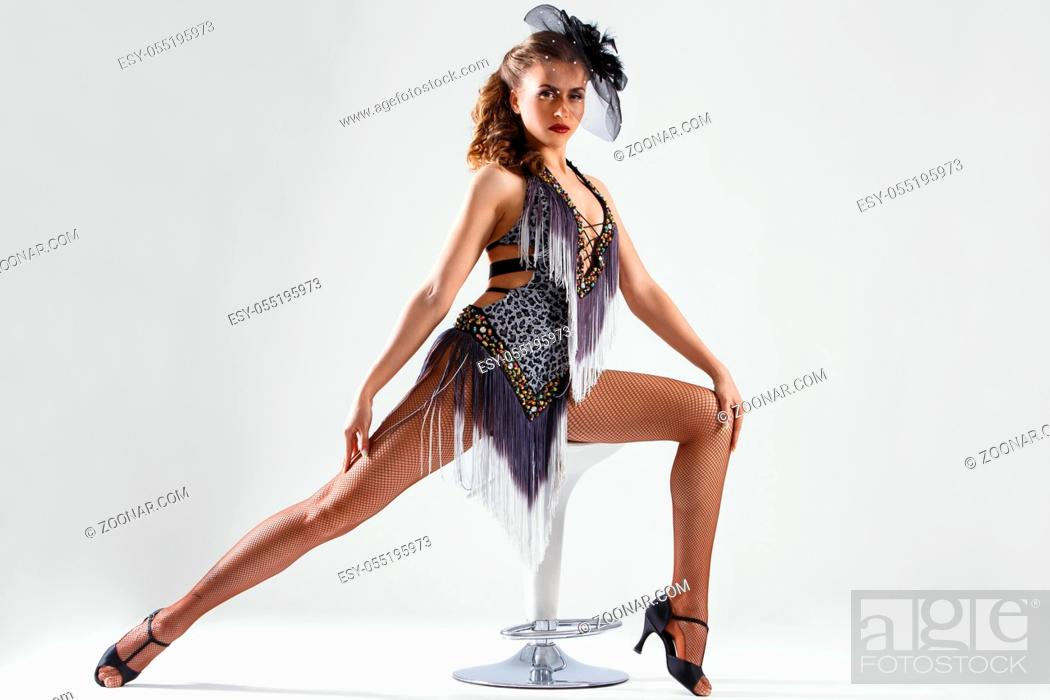 Stock Photo: Burlesque. Cute, beautiful woman on a white background.