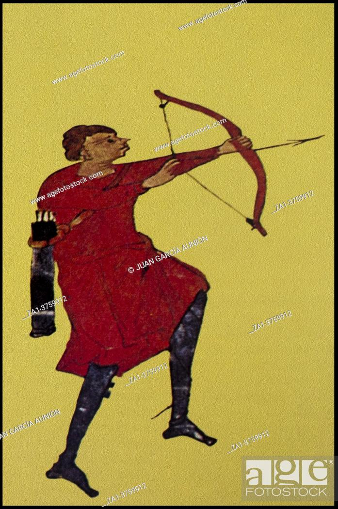 Stock Photo: Archer. Infantry in the Middle Ages. Gerona Beatus at 10th-century, Museum of Girona Cathedral.
