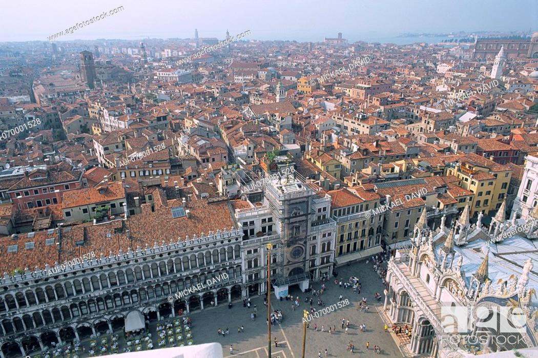 Stock Photo: Italy - Venice - aerial view on the city - Saint Mark's square and the catheral.