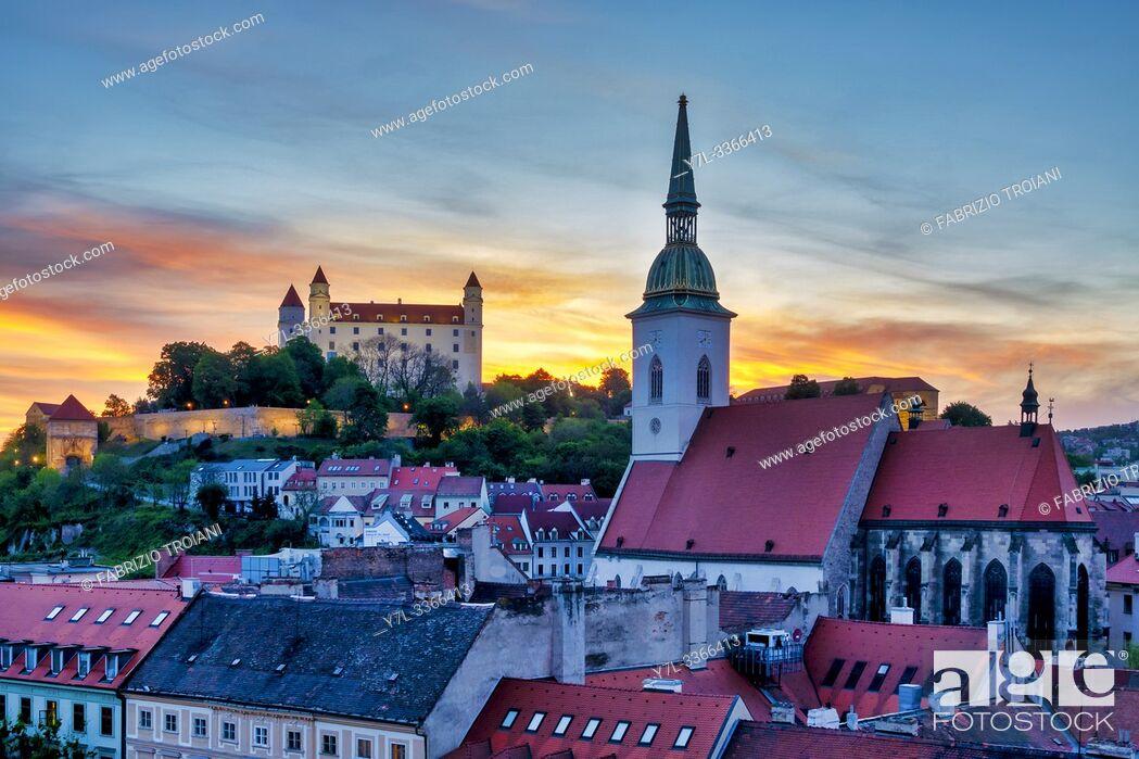 Stock Photo: Bratislava Castle and St Martin's Cathedral, Bratislava, Slovakia.