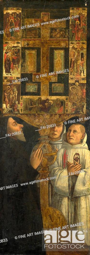 Stock Photo: Cardinal Bessarion and Two Members of the Scuola della Carità in prayer with the Bessarion Reliquary. Bellini, Gentile (ca. 1429-1507).