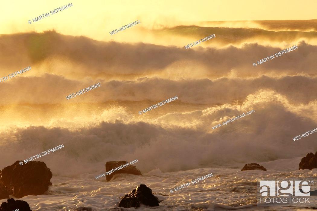 Stock Photo: Spain, Canary Islands, La Gomera, La Playa, View of sea waves at dusk.