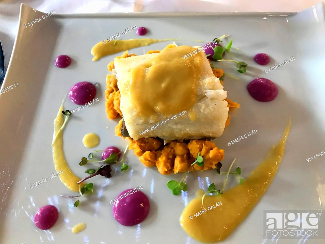 Stock Photo: Grilled cod loin with chickpeas and cabbage sauce. Spain.