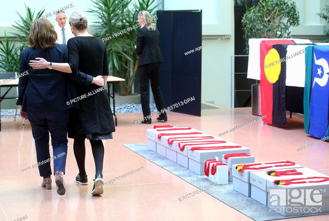 Stock Photo: 15 April 2019, Berlin: Representatives of museums participate in the return of the remains of indigenous Australians, from the State Ethnographic Collections.