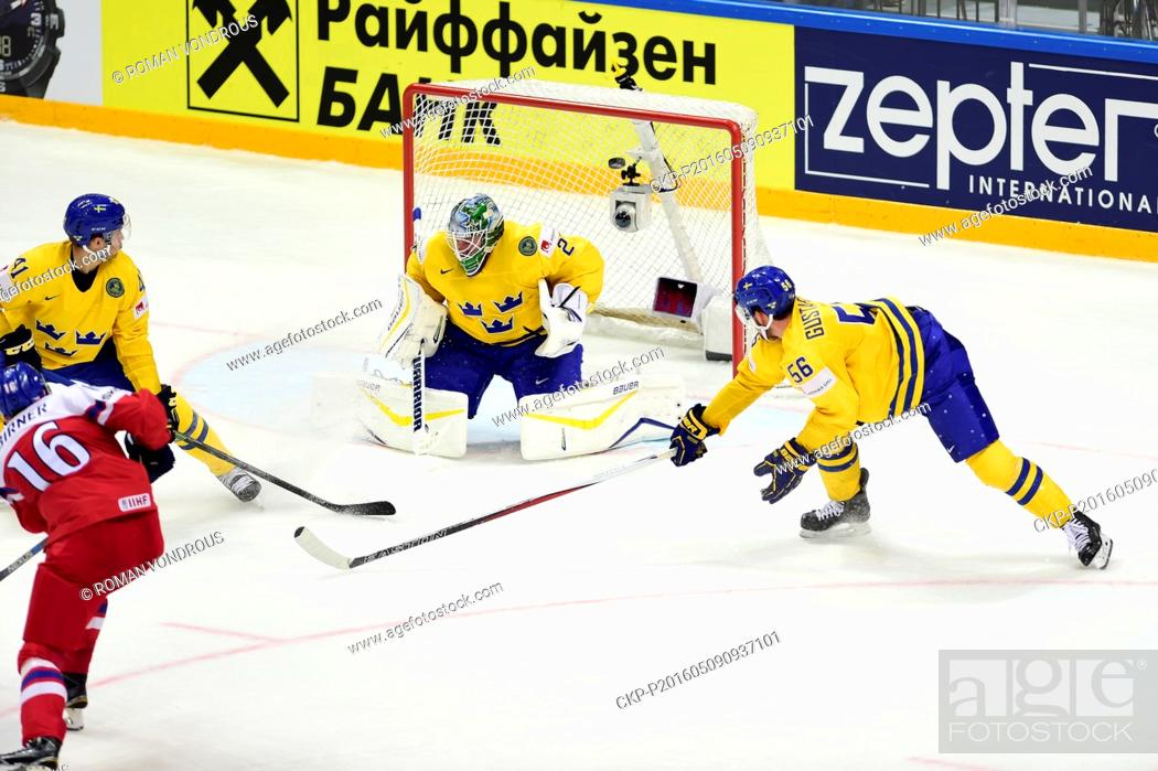 Michal Birner Left Cze Shoots A Goal To Goalkeeper Jacob Markstrom Swe During The Ice Hockey Stock Photo Picture And Rights Managed Image Pic Ckp P201605090937101 Agefotostock