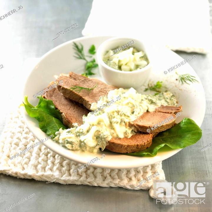 Stock Photo: Ox breast with dill sauce.