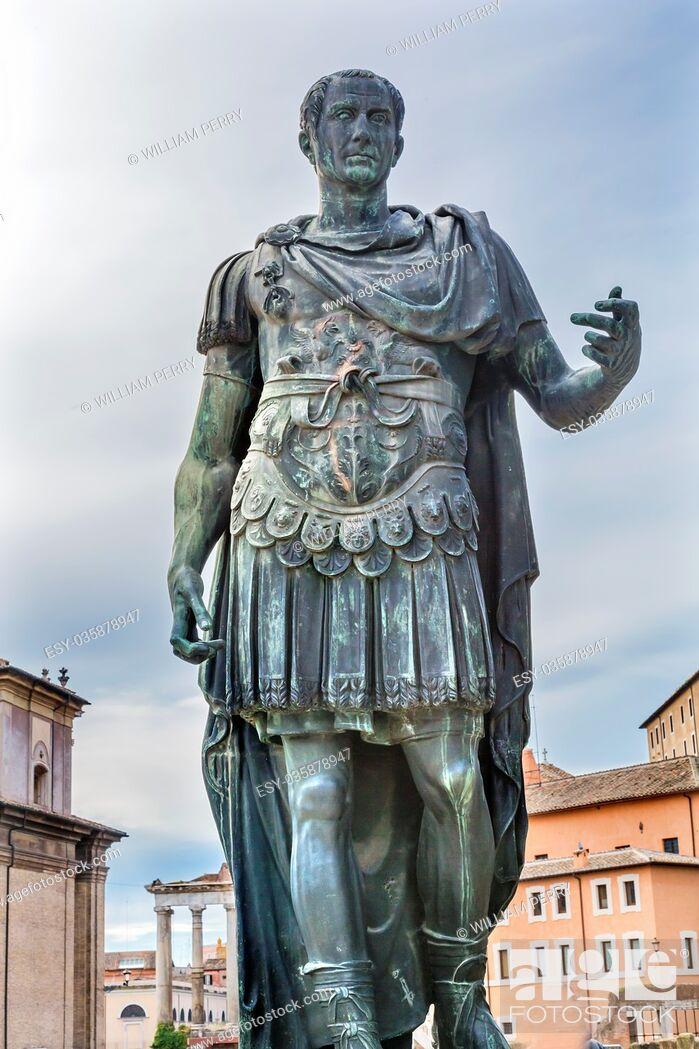 Stock Photo: Julius Caesar Bronze Statue Roman Forum Rome Italy. Julius Caesar rebuilt Roman Forum in 46 BC Copy of ancient statue of Julius Caesar.