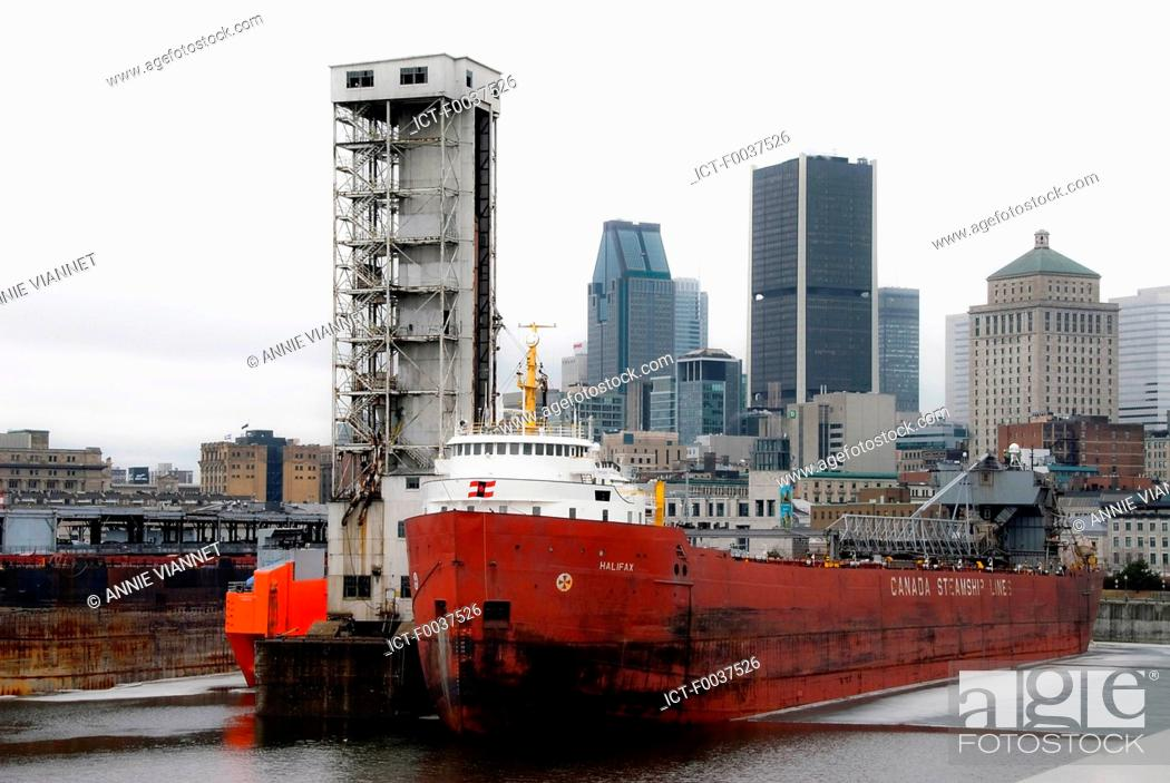 Stock Photo: Canada, Quebec, Montreal, old port, view from King edward quay.
