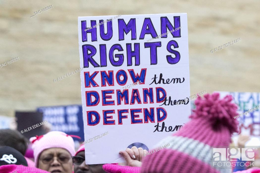 Stock Photo: A protest sign is seen during the Women's March on Washington in Washington, DC on January 21, 2017.