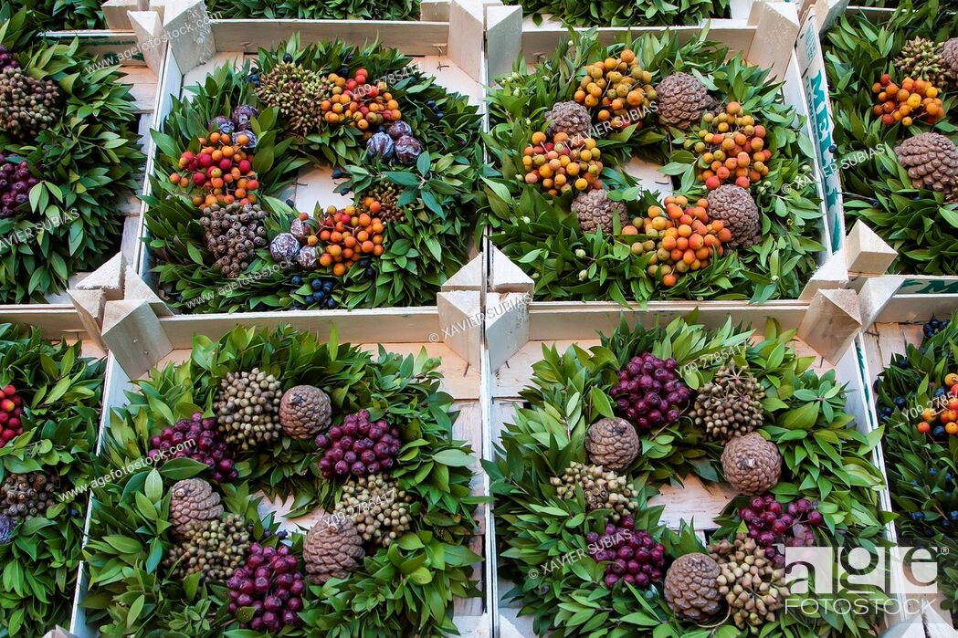 Stock Photo: Christmas wreaths, Christmas Market, Manchester, England, United Kingdom.