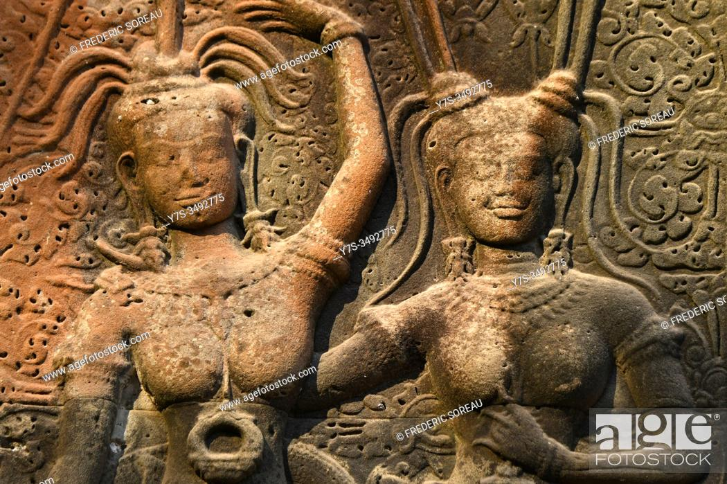 Stock Photo: Bas relief of apsara at Angkor Wat temple complex. Angkor archaelogical park, Siem Reap Province, Cambodia, South East Asia.
