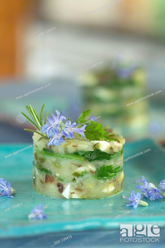 Stock Photo: Timbale of seitan and potato lasagnes.
