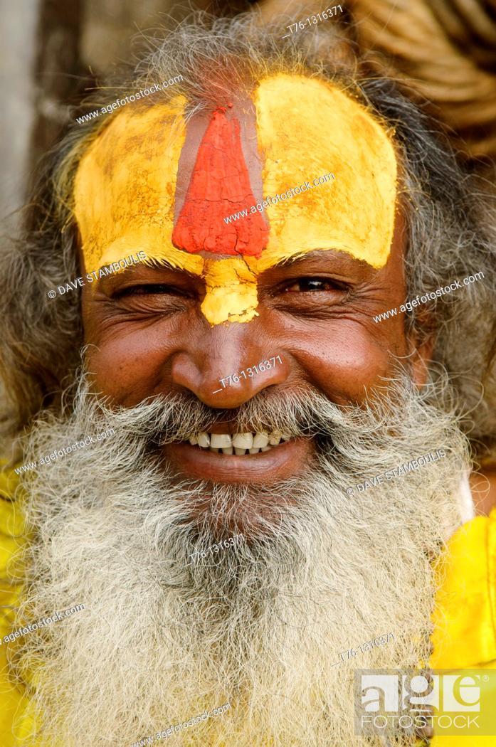 Stock Photo: portrait of a sadhu at the Pashupatinath Temple in Kathmandu, Nepal.