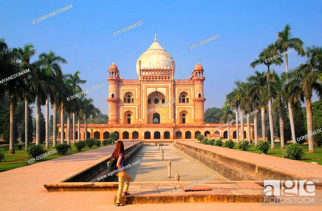 Stock Photo: Tomb of Safdarjung in New Delhi, India. It was built in 1754 in the late Mughal Empire style.